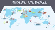 Famous world landmarks on the map